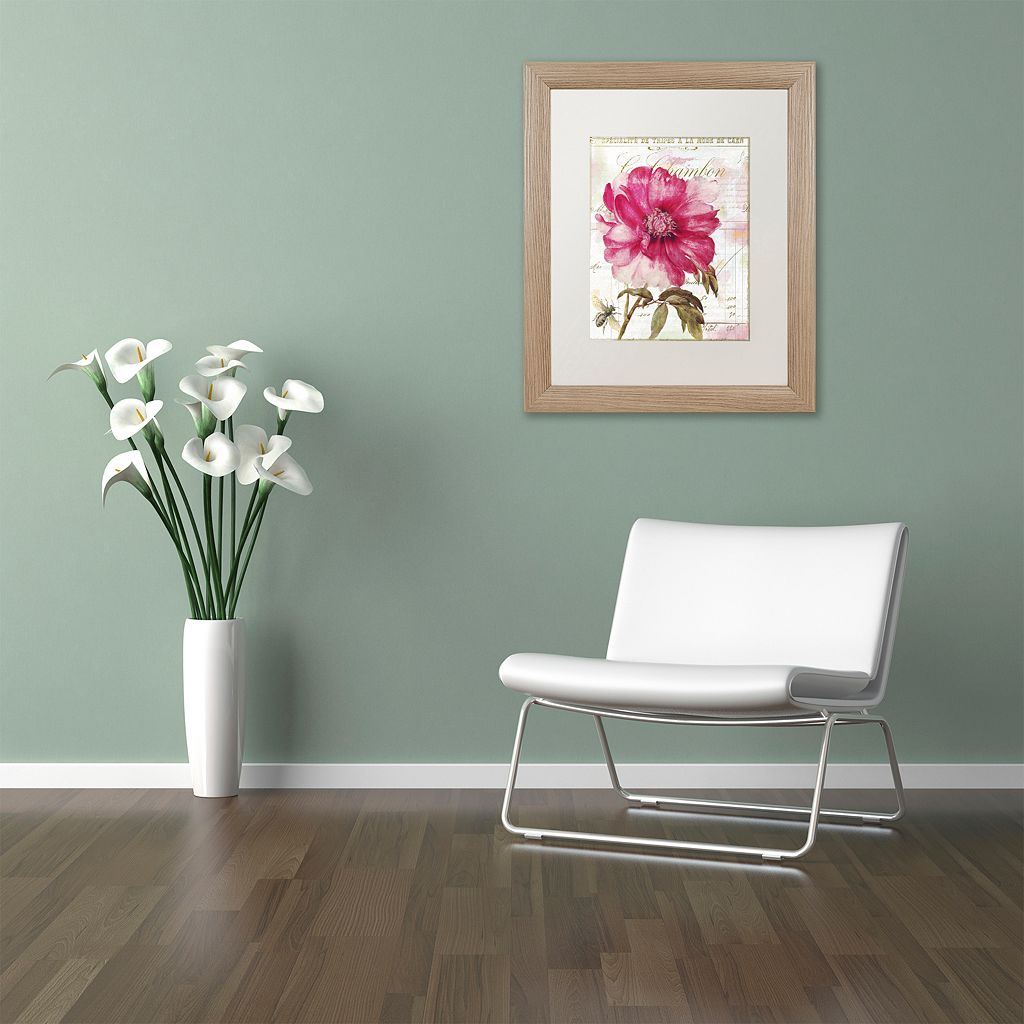 Trademark Fine Art Pink Peony Distressed Framed Wall Art