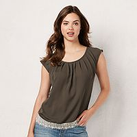 Women's LC Lauren Conrad Pleated Lace Top