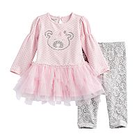 Baby Girl Nannette Bear Applique Tunic & Lace Leggings Set