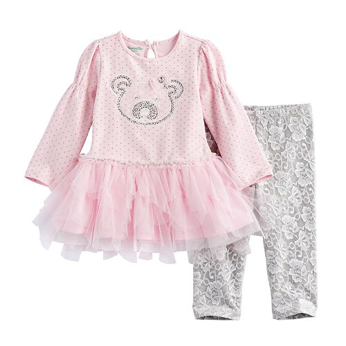 Baby Girl Nannette Bear Applique Tunic & Lace Leggings Set