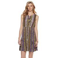 Petite Dana Buchman Printed Lace-Up Dress
