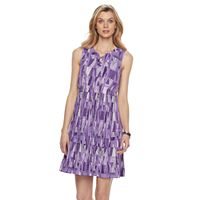 Petite Dana Buchman Printed Lace-Up Dress