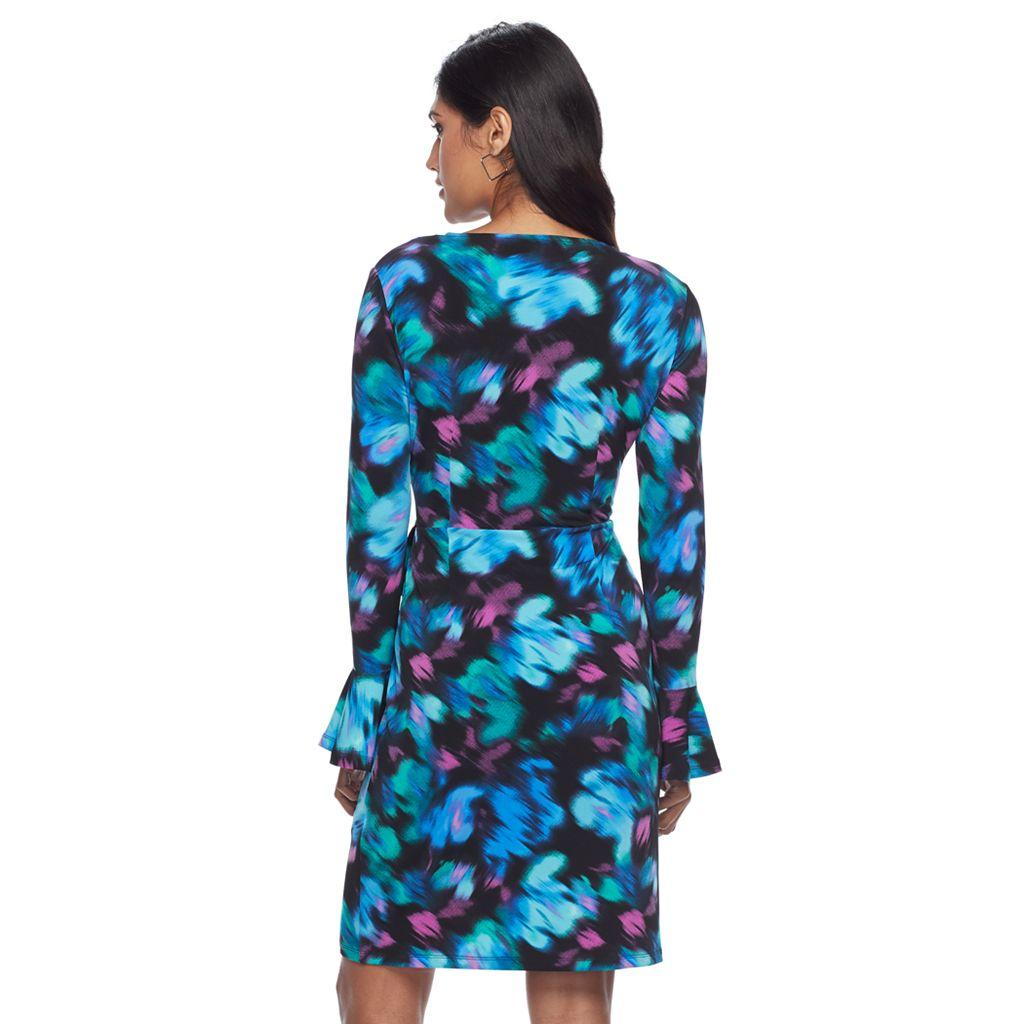 Petite Suite 7 Rainbow Haze Floral Faux-Wrap Dress