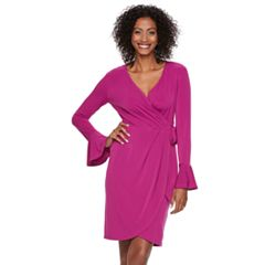 Petite Suite 7 Bell Sleeve Faux-Wrap Dress