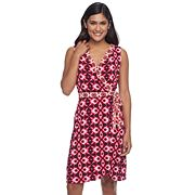 Petite Suite 7 Batik Ikat Faux-Wrap Dress