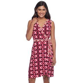 Petite Suite 7 Batik Ikat Faux-Wrap Dress