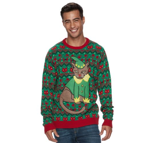 Mens Elf Cat Ugly Christmas Sweater