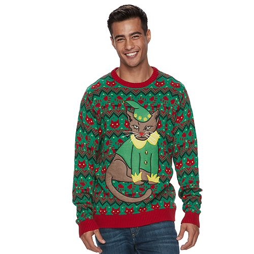 Mens Ugly Christmas Sweater.Men S Elf Cat Ugly Christmas Sweater