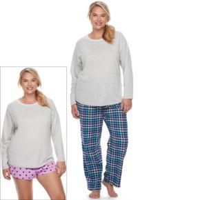 Juniors' Plus Size SO® Pajamas: Flannel Pants, Shorts & Top 3-Piece PJ Set