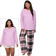 Juniors' Plus Size SO® Pajamas: Flannel Pants, Shorts & Top 3 pc PJ Set