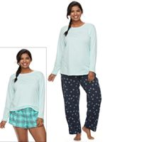 Juniors' Plus Size SO® Pajamas: Knit Pants, Shorts & Top 3 pc PJ Set