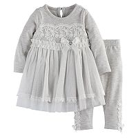 Baby Girl Nannette Lace Tulle Dress & Leggings Set