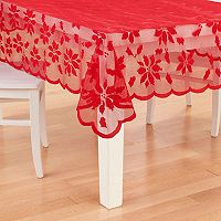 St. Nicholas Square® Red Poinsettia Lace Tablecloth