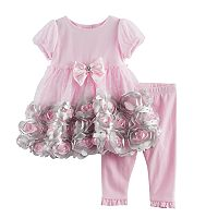 Baby Girl Nannette Rosette Dress & Ruffled Leggings Set