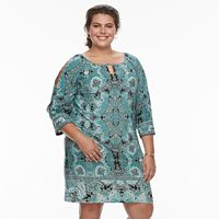 Plus Size Suite 7 Medallion Keyhole Shift Dress