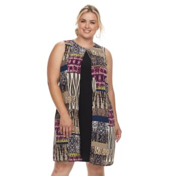 Plus Size Suite 7 Animal Patchwork Flyaway Shift Dress