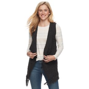 Petite SONOMA Goods for Life? Cable Knit Fringe Vest