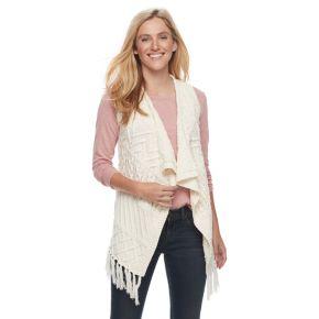 Petite SONOMA Goods for Life™ Cable Knit Fringe Vest