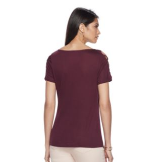Women's Jennifer Lopez Lace-Up Cold-Shoulder Tee