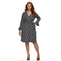 Plus Size Suite 7 Bell Sleeve Wrap Dress
