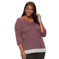 Plus Size Kate And Sam Crochet-Trim Sweater