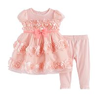 Baby Girl Nannette Rosette Dress & Leggings Set