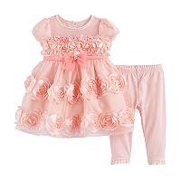 Baby Girl Nannette Rosette Dress & Leggings Set