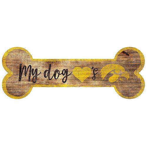 Iowa Hawkeyes Dog Bone Wall Sign