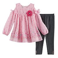 Toddler Girl Nannette Butterfly Cold-Shoulder Top & Lurex Leggings Set
