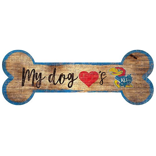 Kansas Jayhawks Dog Bone Wall Sign