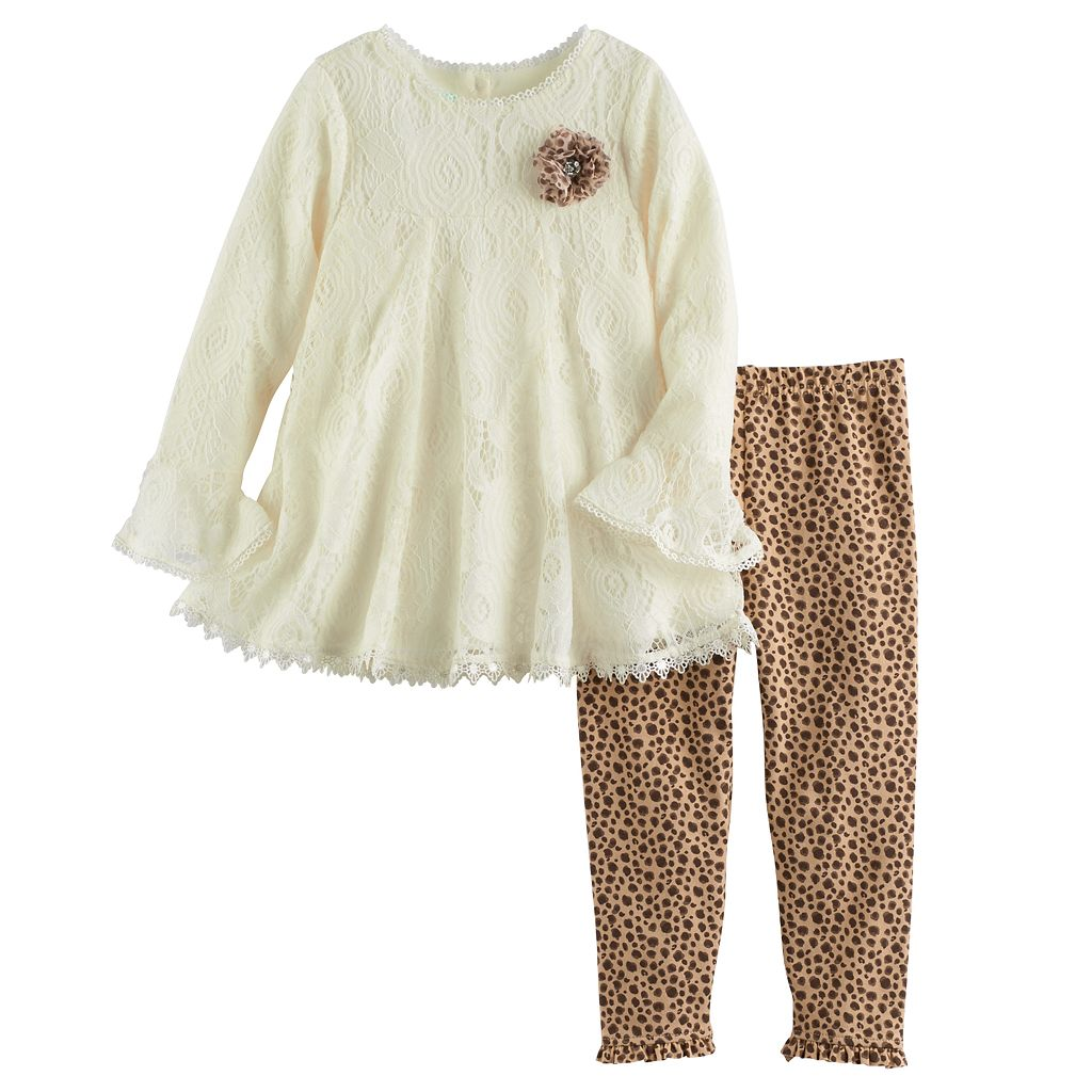 Toddler Girl Nannette Lace Swing Top & Leopard Leggings Set