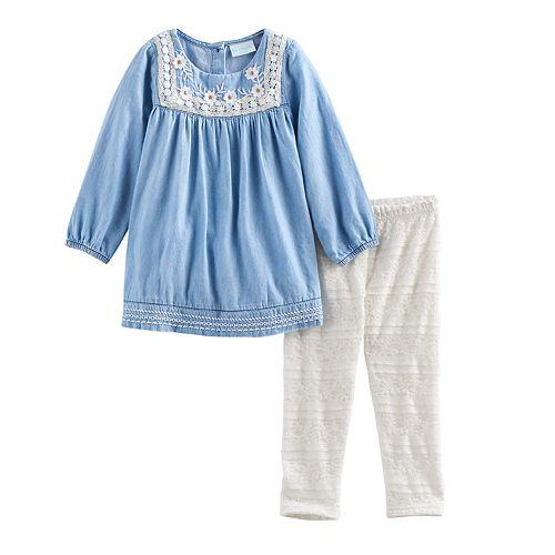 Toddler Girl Nannette Crochet Chambray Top & Leggings Set