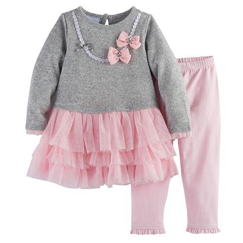 Toddler Girl Nannette Necklace Tutu Dress & Ruffled Leggings Set