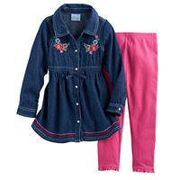 Toddler Girl Nannette Embroidered Denim Tunic & Leggings Set