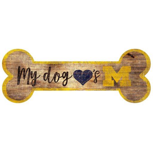 Michigan Wolverines Dog Bone Wall Sign