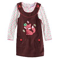 Toddler Girl Nannette Fox Applique Corduroy Jumper & Polka-Dot Tee Set