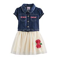 Toddler Girl Nannette Rose Denim & Tulle Dress