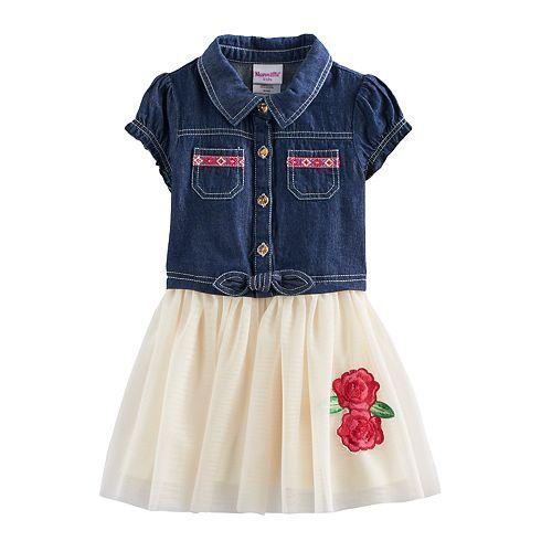 Toddler Girl Nannette Rose Denim & Tulle Dress