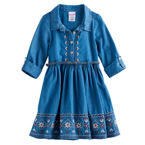 Toddler Girl Nannette Embroidered Chambray Belted Dress