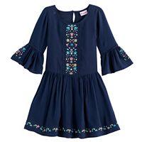 Toddler Girl Nannette Embroidered Bell Sleeved Dress
