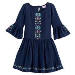 Toddler Girl Nannette Embroidered Bell Sleeved Dress