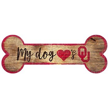Oklahoma Sooners Dog Bone Wall Sign