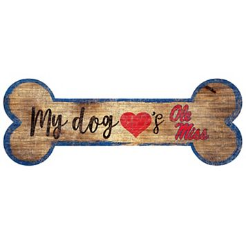 Ole Miss Rebels Dog Bone Wall Sign