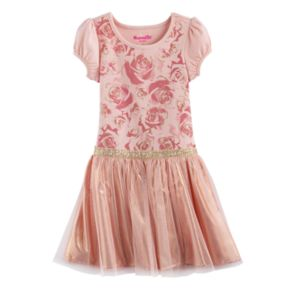 Girls 4-6x Nannette Floral Glitter Print Pleated Dress