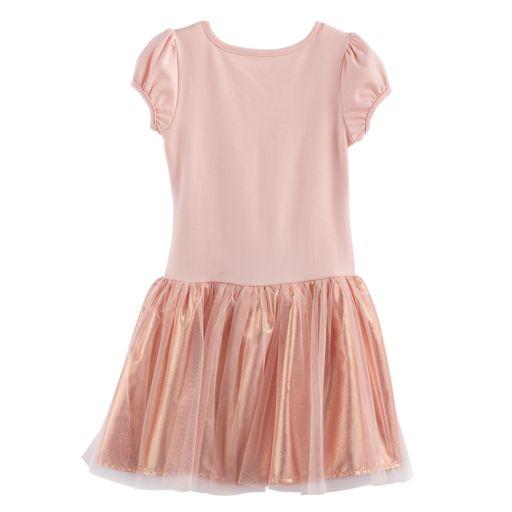 Girls 4-6x Nannette Floral Glitter Print Pleated Dress