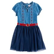 Girls 4-6x Nannette Belted Denim & Tulle Dress