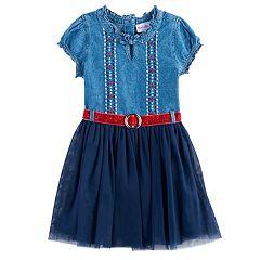 Girls 4-6x Nannette Belted Denim & Tulle Dress