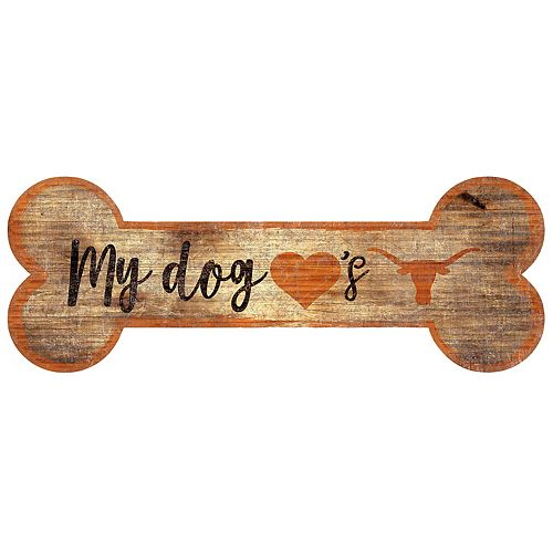 Texas Longhorns Dog Bone Wall Sign