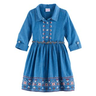 Girls 4-6x Nannette Embroidered Chambray Dress