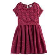 Girls 4-6x Nannette Lace Mock-Layer Short Sleeved Dress